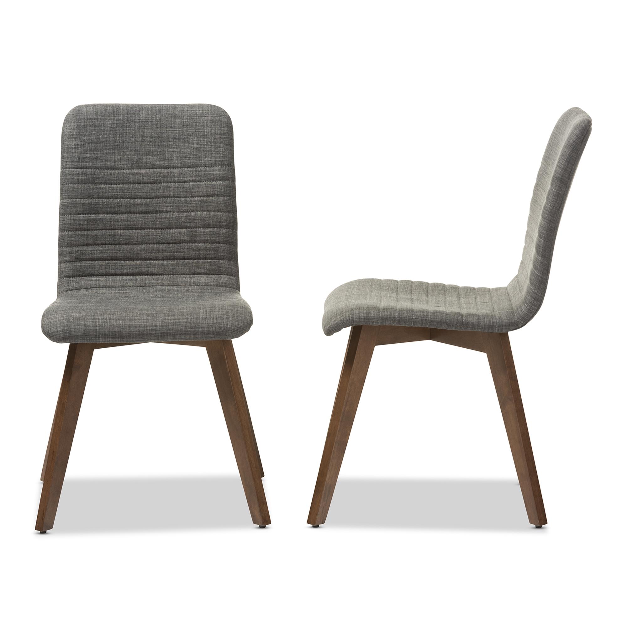 Baxton Studio Sugar Mid Century Retro Modern Scandinavian Style Dark Grey  Fabric Upholstered Walnut Wood Finishing Dining Chair