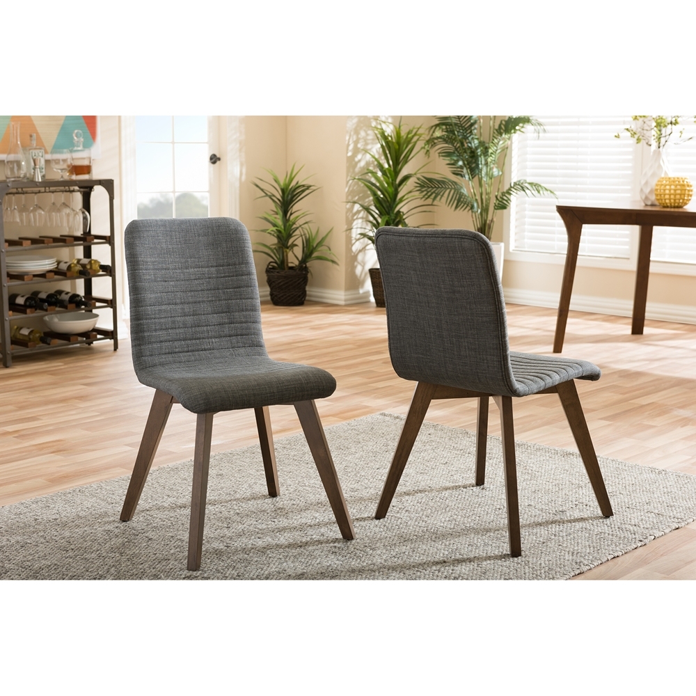 Wood lounge chairs qty 4 striped fabric with adjustable heights -  Baxton Studio Sugar Mid Century Retro Modern Scandinavian Style Dark Grey Fabric Upholstered Walnut Wood
