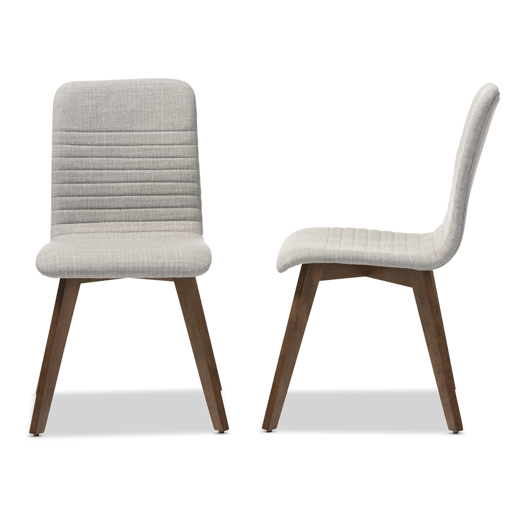 Modern furniture chairs - Baxton Studio Sugar Mid Century Retro Modern Scandinavian Style Light Grey Fabric Upholstered Walnut Wood Finishing Dining Chair