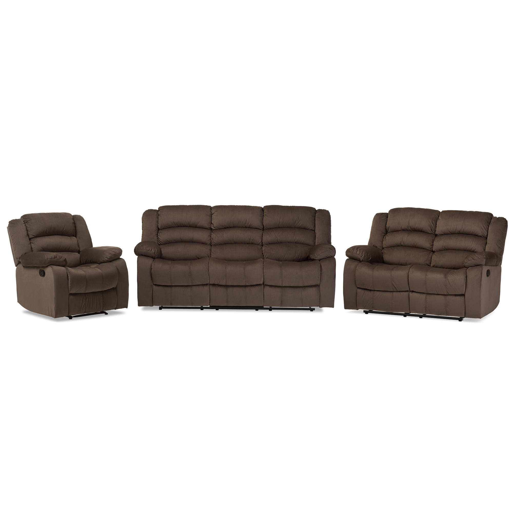 Baxton Studio Hollace Modern And Contemporary Taupe Microsuede Sofa Loveseat Chair Set With 5 Recliners Living Room
