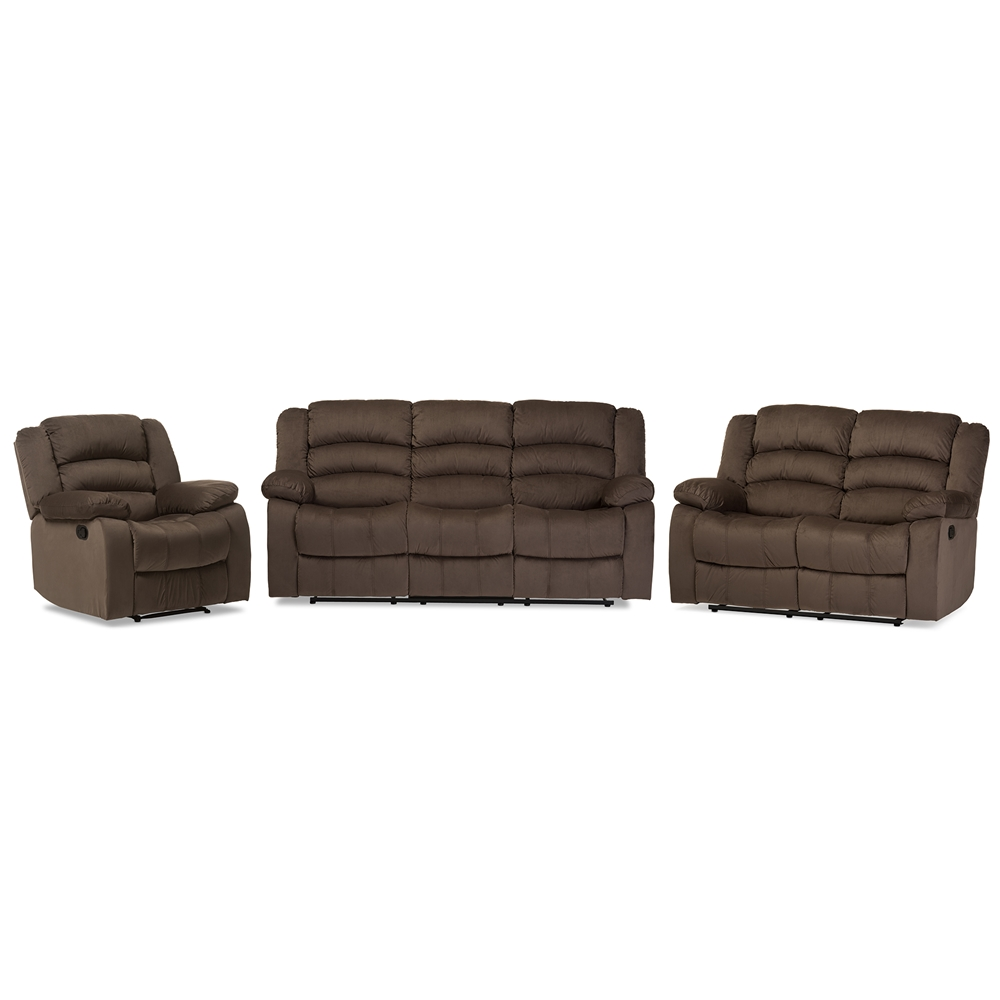 Baxton Studio Hollace Modern And Contemporary Taupe Microsuede  ~ Sofa Loveseat Chair Sets