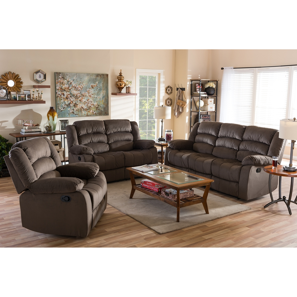 Baxton studio hollace modern and contemporary taupe microsuede sofa loveseat and chair set with for Microsuede living room furniture
