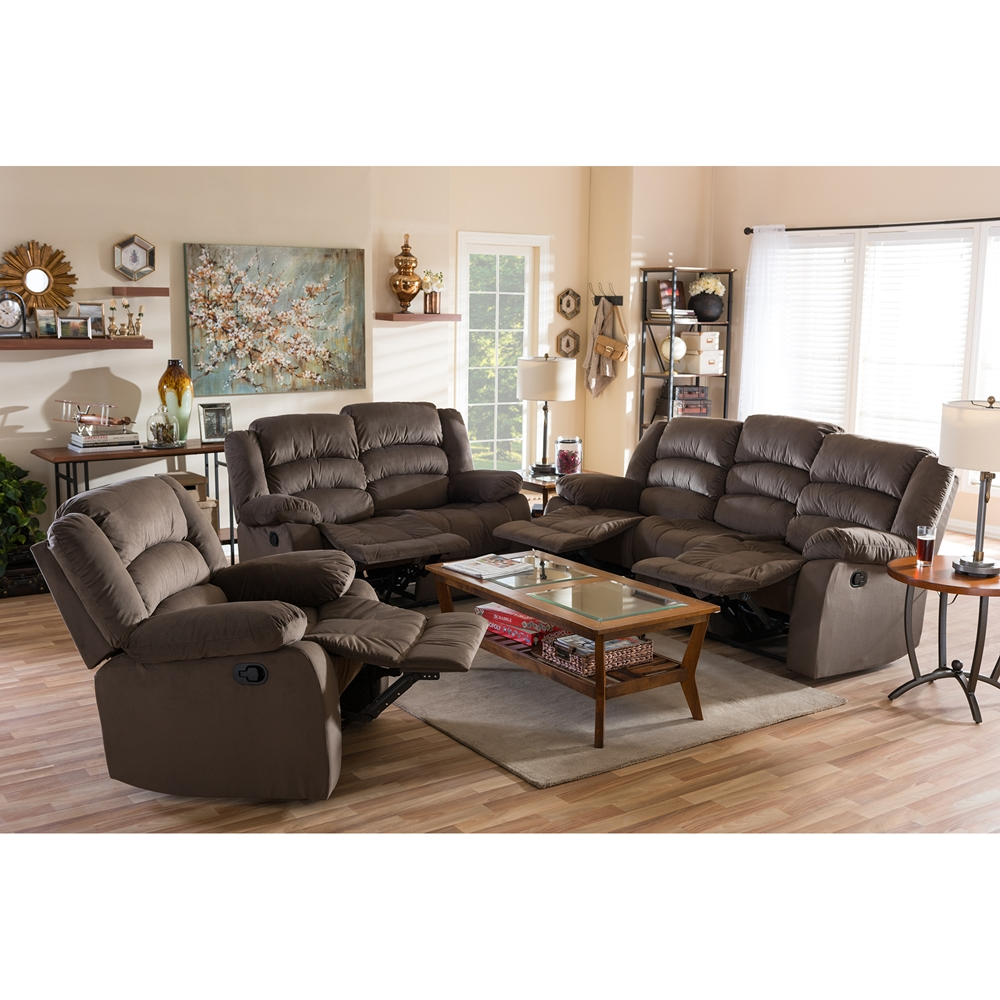Baxton Studio Hollace Modern And Contemporary Taupe Microsuede Sofa  Loveseat And Chair Set With 5 Recliners