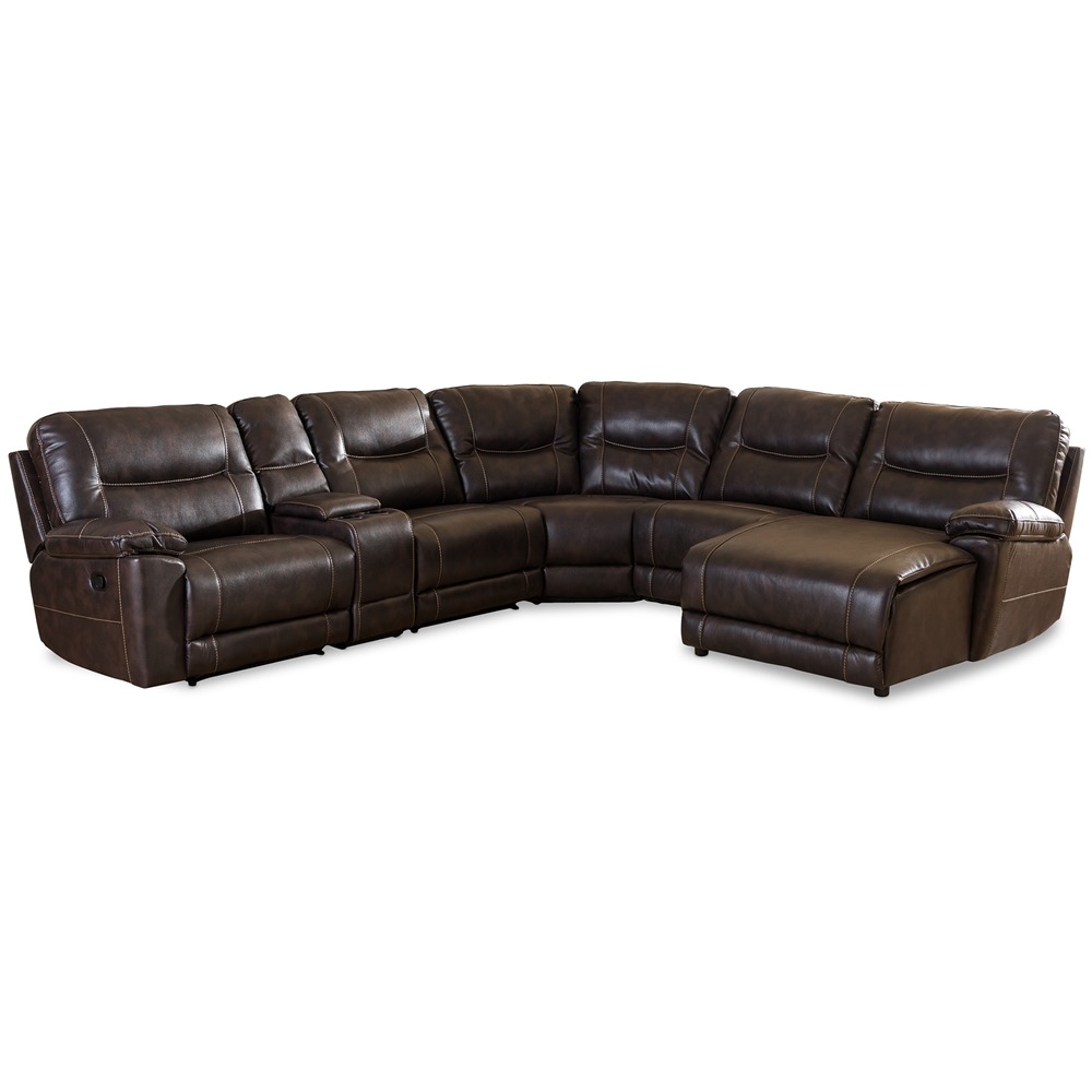 Baxton Studio Mistral Modern And Contemporary Dark Brown Bonded Leather  6piece Sectional With Recliners Corner Lounge Suite