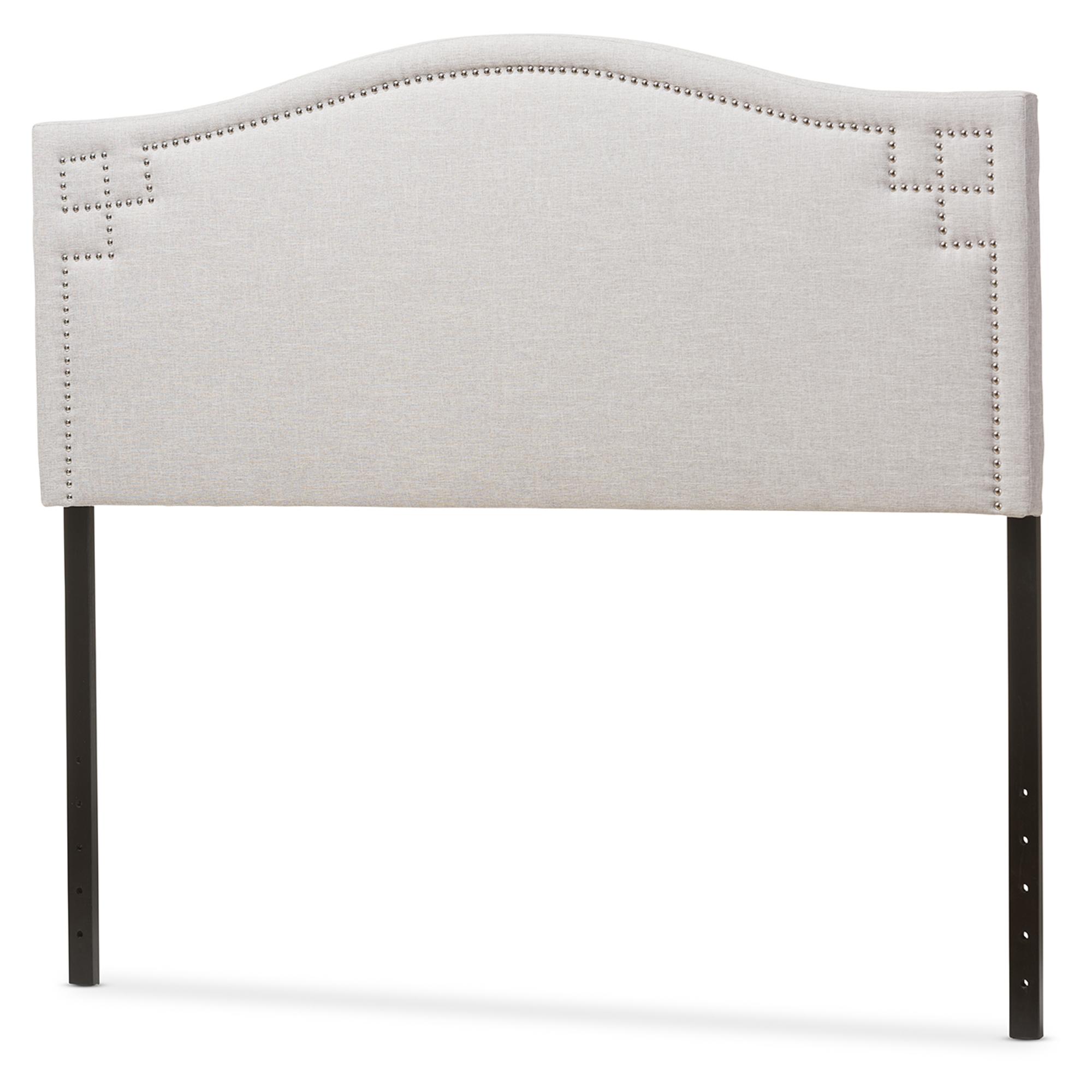 baxton studio aubrey modern and greyish beige fabric upholstered queen size headboard bsobbt6563
