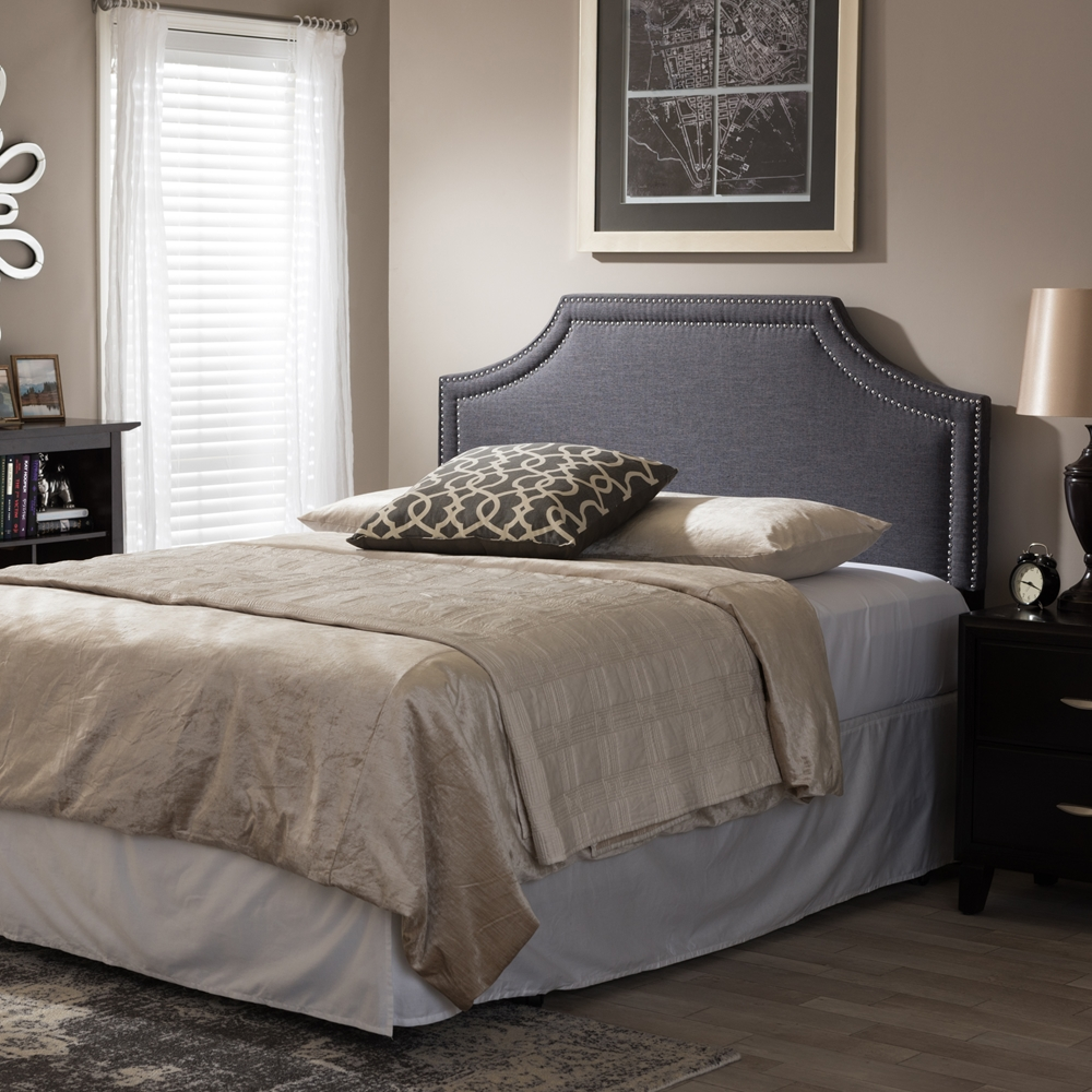 baxton studio avignon modern and contemporary dark grey fabric upholstered king size headboard. Black Bedroom Furniture Sets. Home Design Ideas
