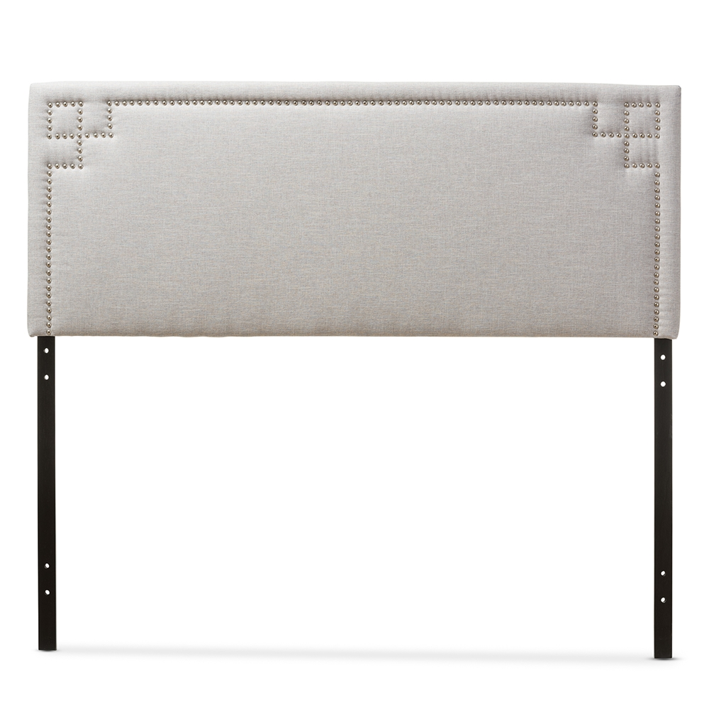 Size Of Queen Headboard Baxton Studio Geneva Modern And Contemporary Greyish Beige Fabric