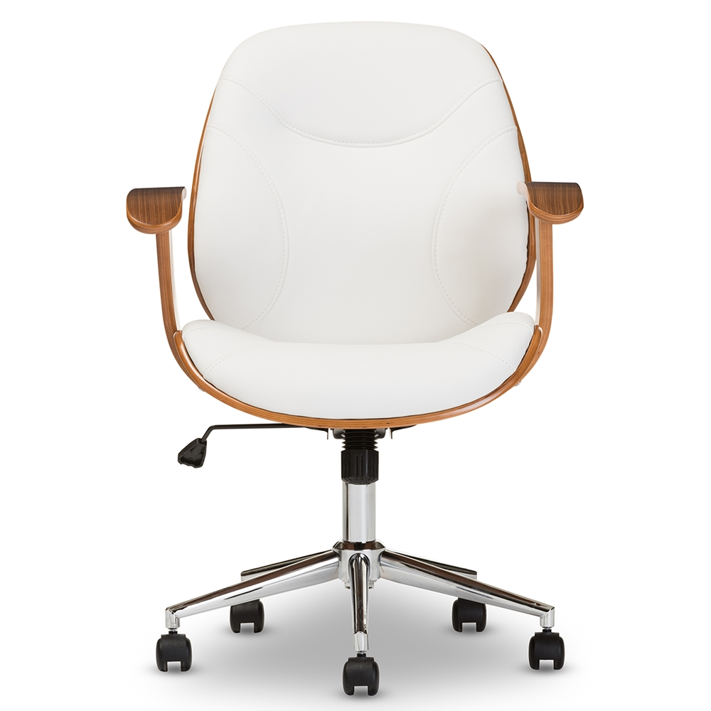 baxton studio rathburn modern and contemporary white and walnut office chair affordable modern furniture in chicago