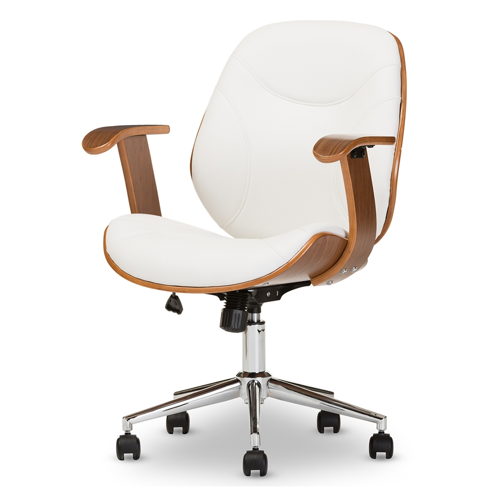 Baxton studio rathburn modern and contemporary white and for Contemporary office chairs modern