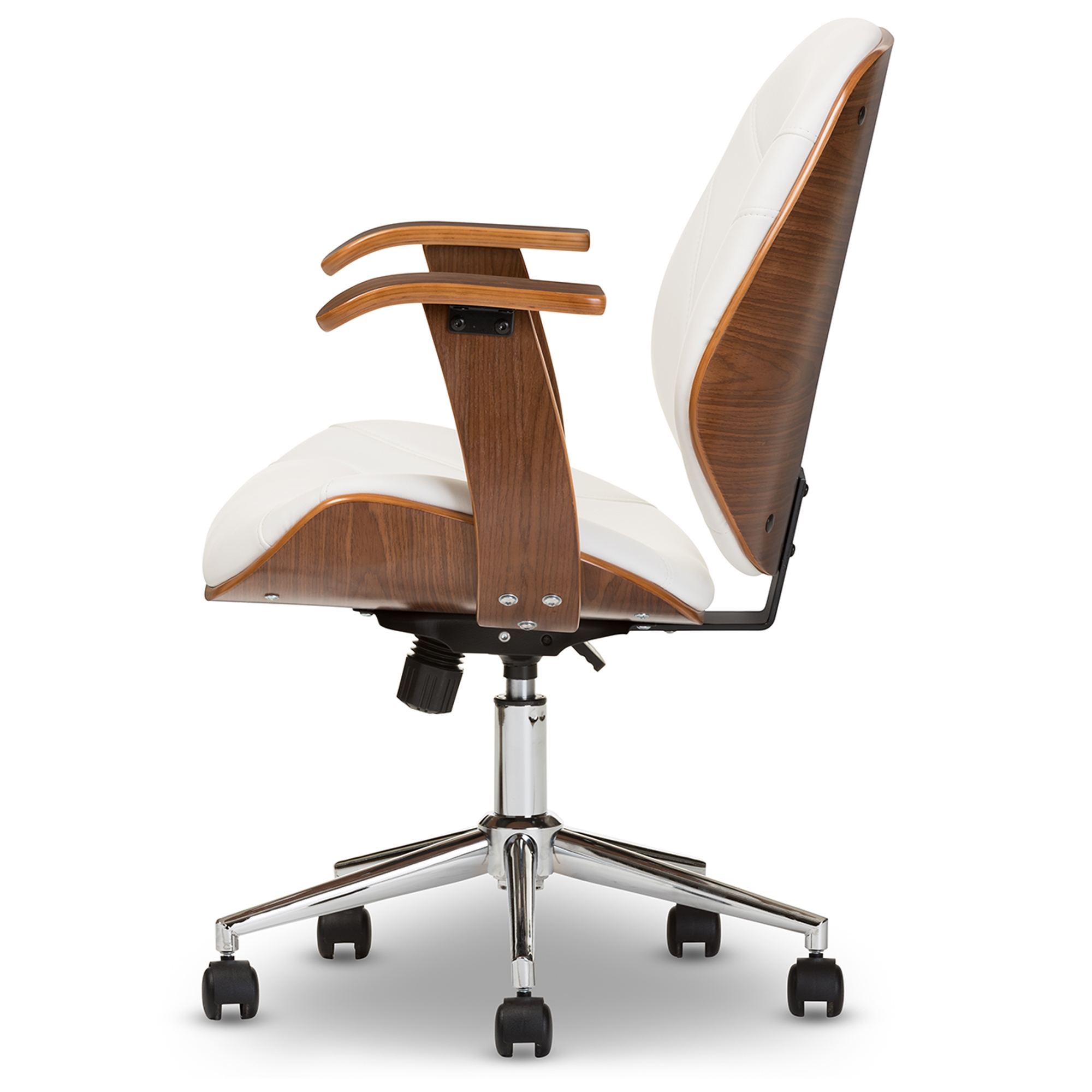 ... Baxton Studio Rathburn Modern And Contemporary White And Walnut Office  Chair   BSOSD 2235  ...