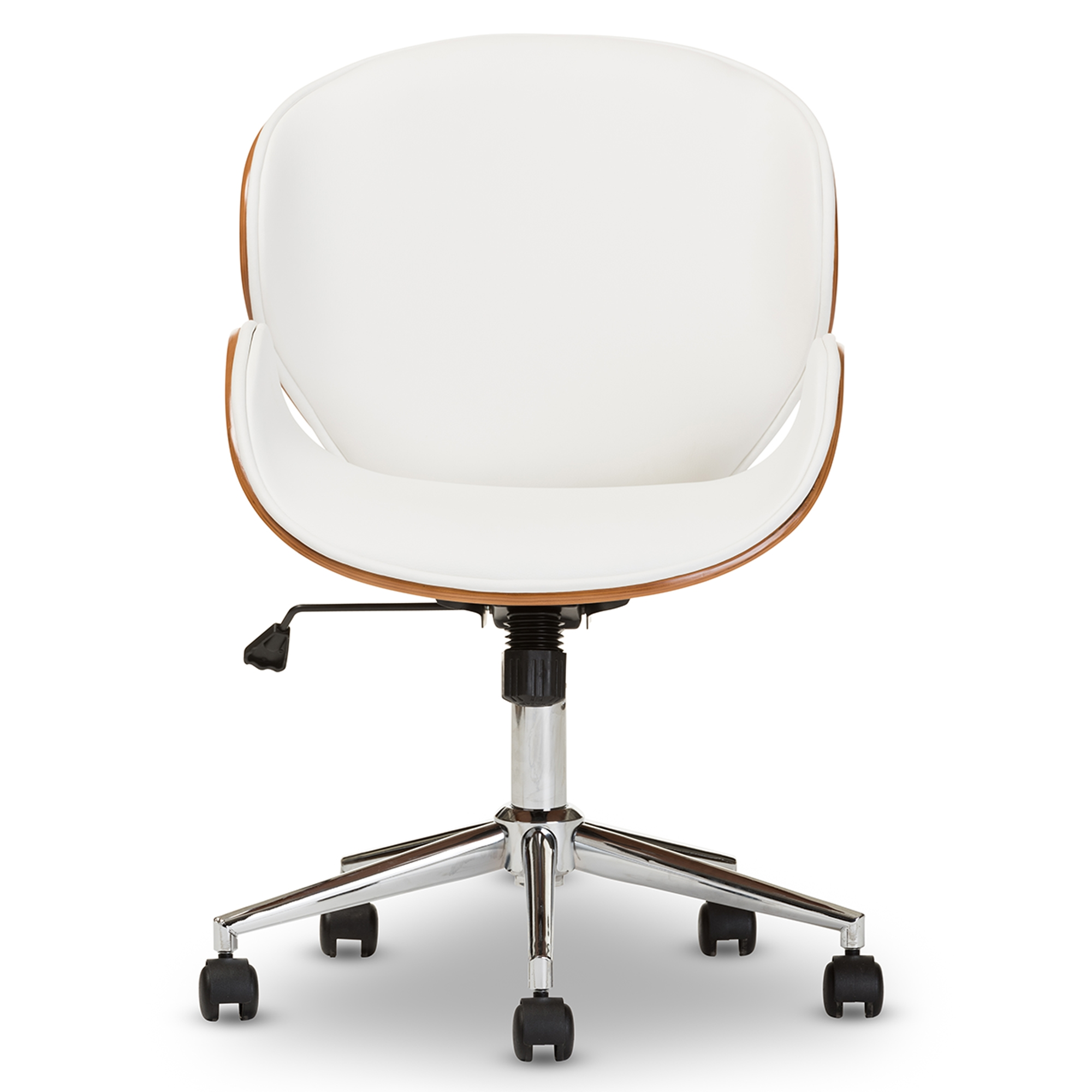 Baxton Studio Bruce Modern And Contemporary White Walnut Office Chair