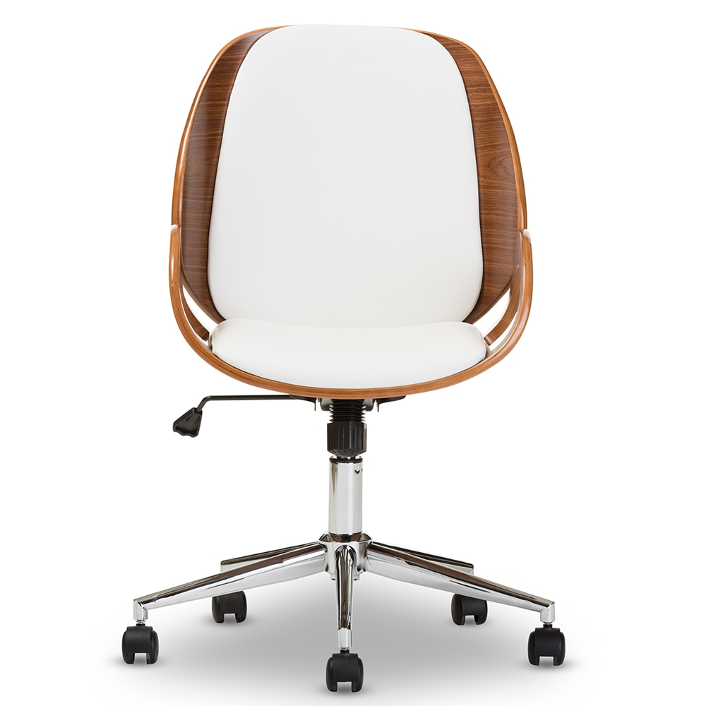 baxton studio watson modern and contemporary white and walnut office chair affordable modern furniture in chicago
