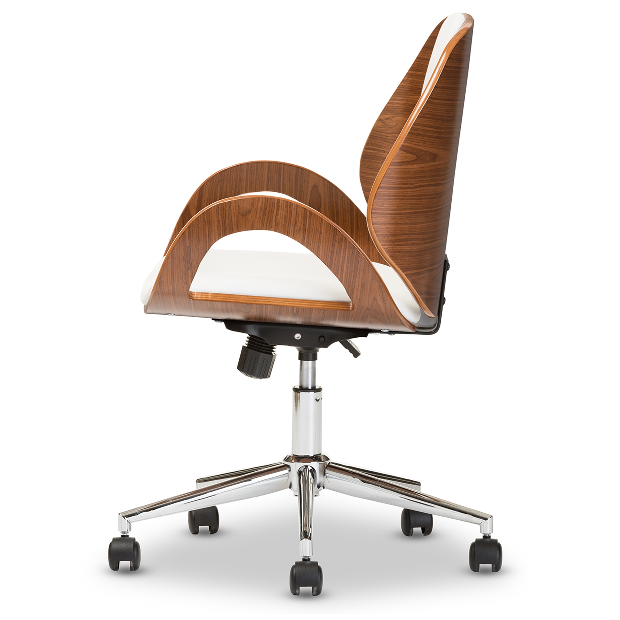... Baxton Studio Watson Modern And Contemporary White And Walnut Office  Chair   BSOSDM2225 5  ...