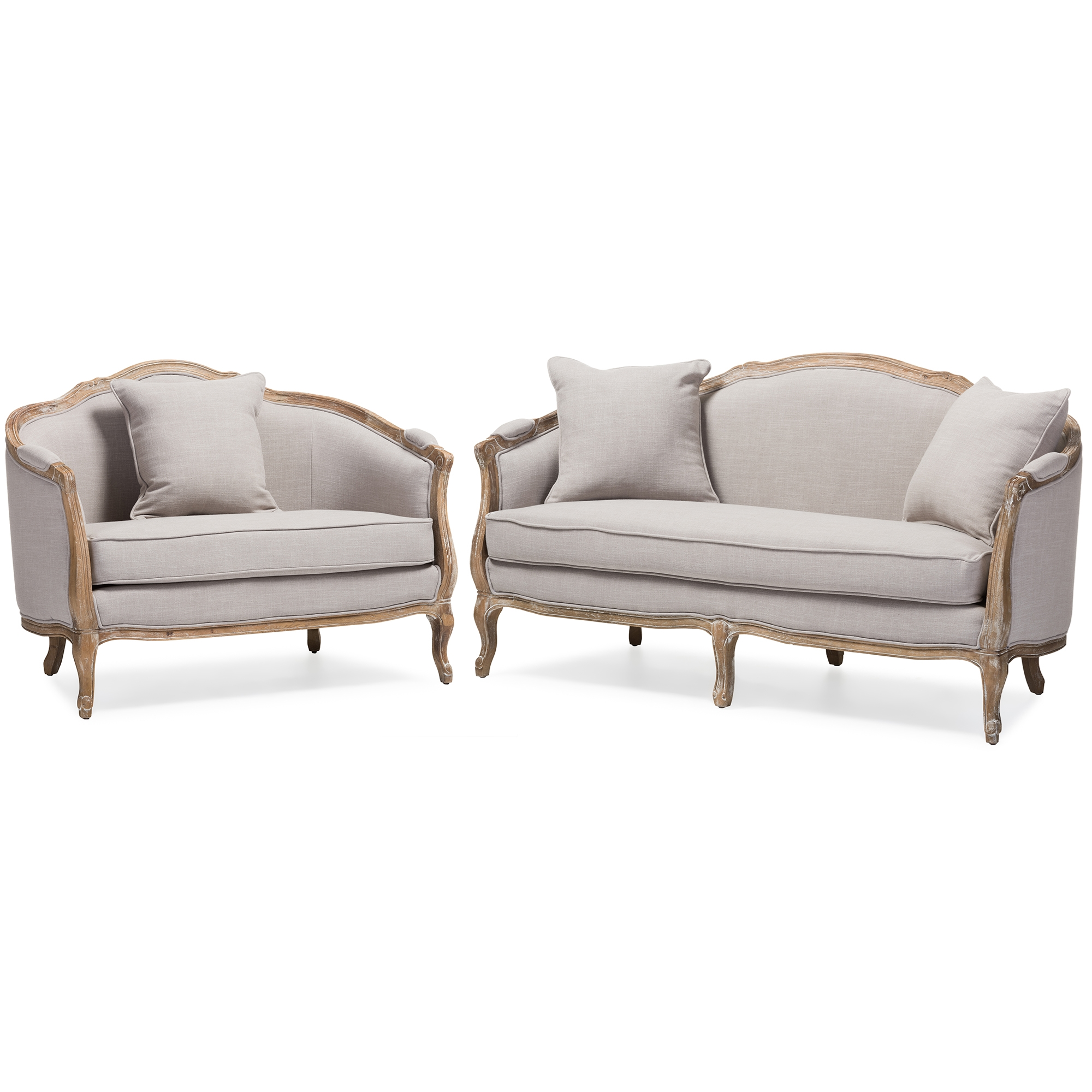 Baxton Studio Chantal French Country White Wash Weathered Oak Distressed  Beige Linen Upholstered 3 Seater Sofa And 2 Seater Loveseat Living Room Set