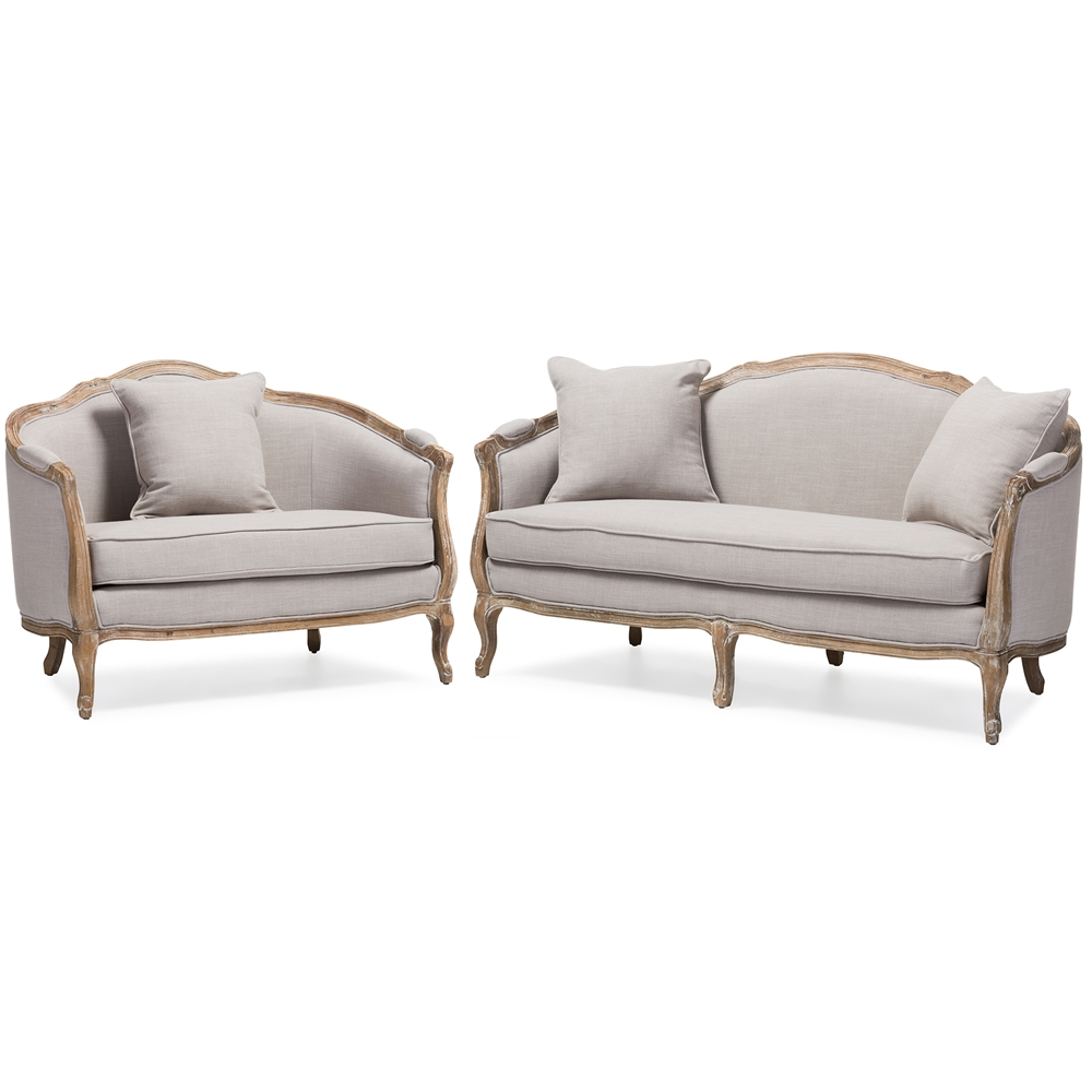 Baxton studio chantal french country white wash weathered for Couch and loveseat