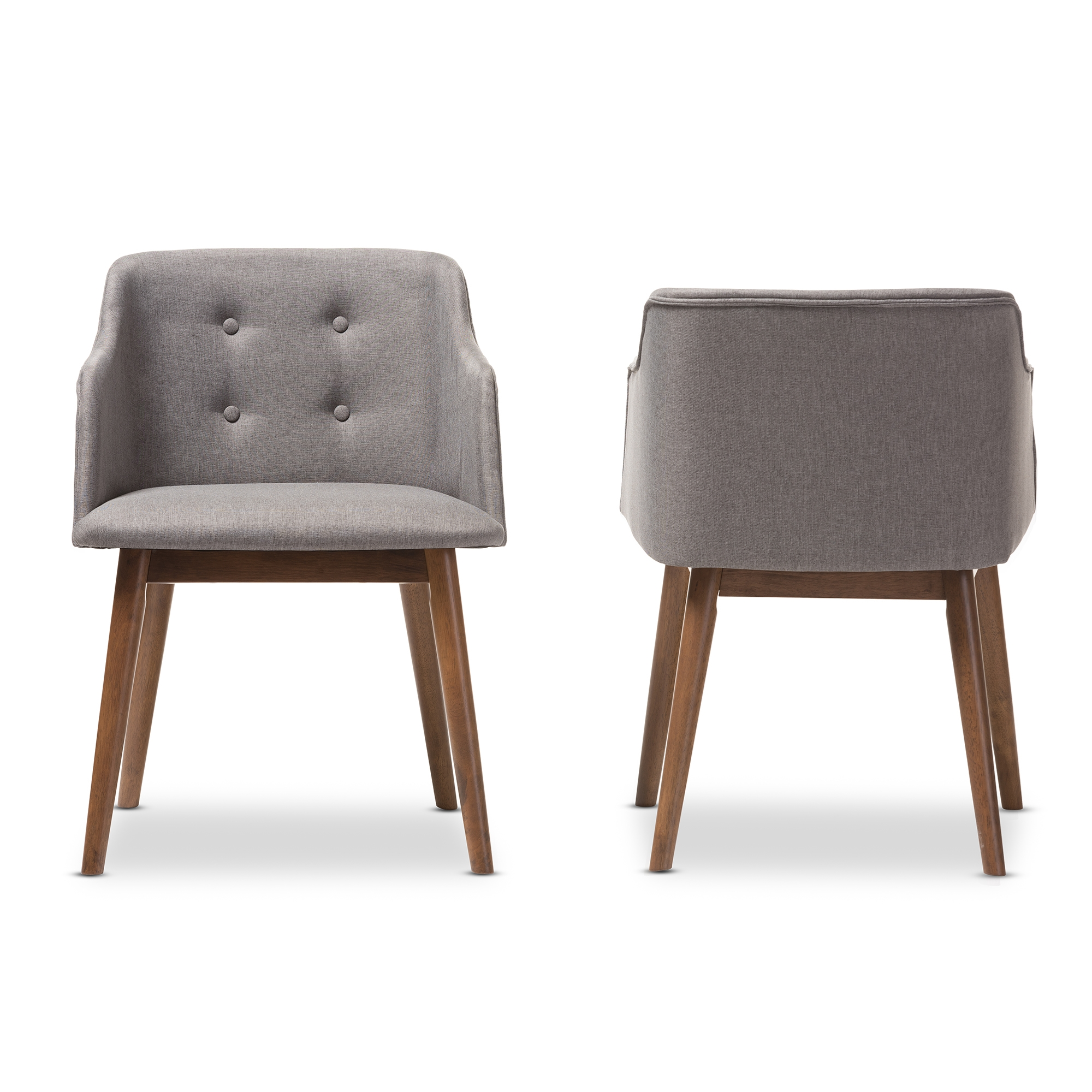 baxton studio harrison midcentury modern grey fabric and walnut brown wood accent chair