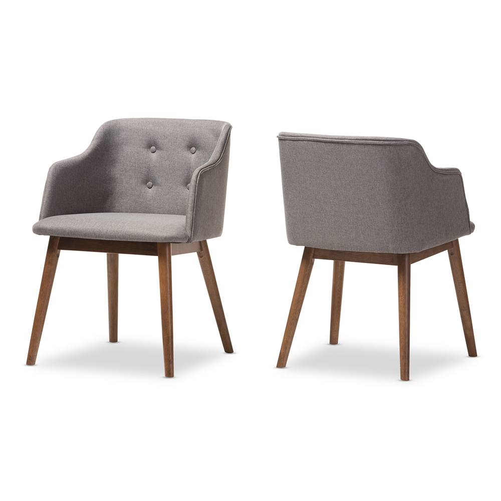Dining Chair Set 2 Pair Accent Tufted Kitchen Modern Side: Baxton Studio Harrison Mid-Century Modern Grey Fabric And
