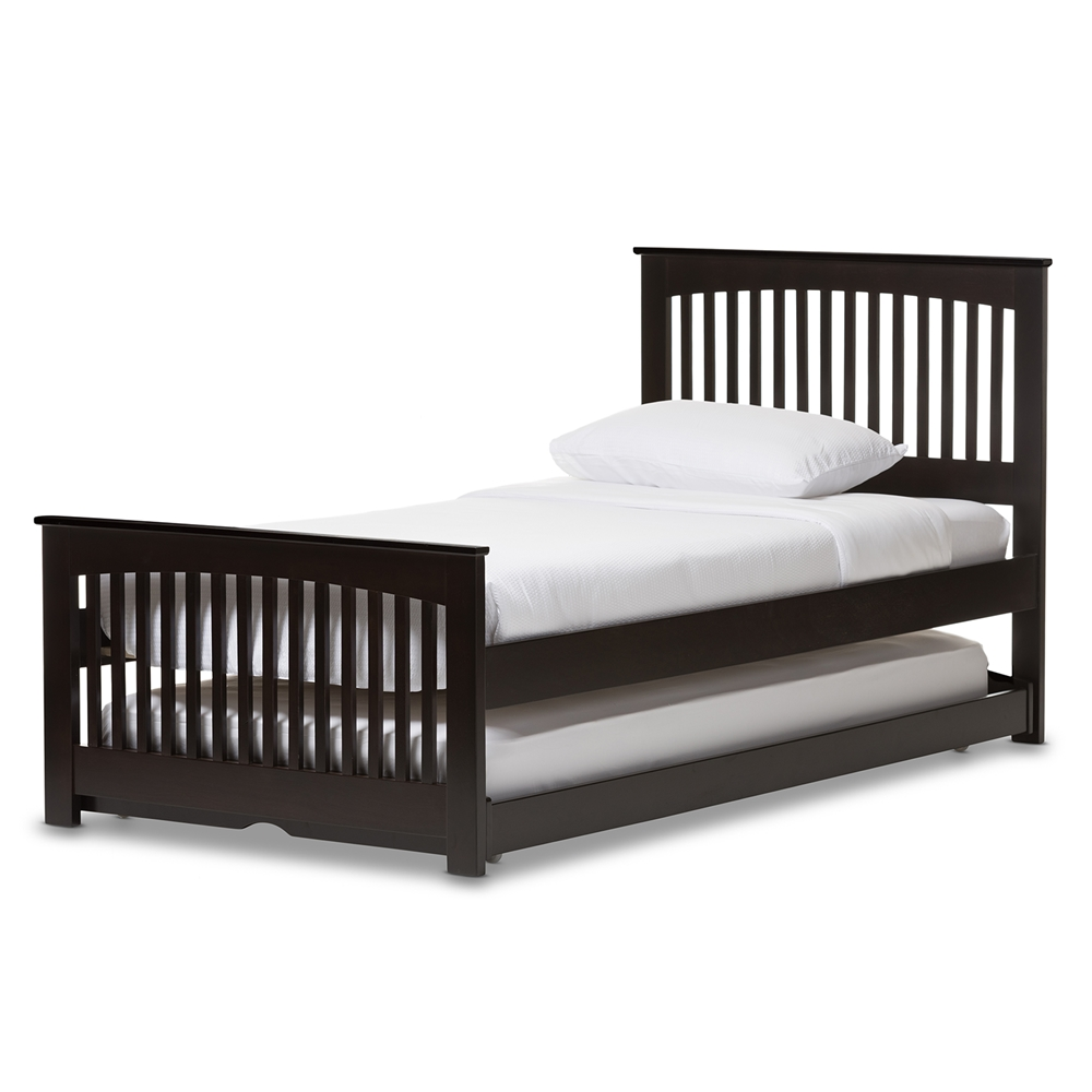 Baxton Studio Hevea Twin Size Dark Brown Solid Wood Platform Bed With Guest Trundle