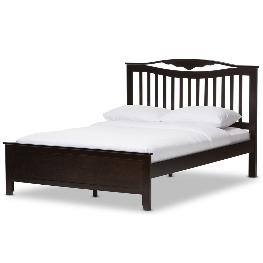 Baxton Studio Seconique Classic Dark Brown Solid Rubberwood Wood Full Size Platform Bed