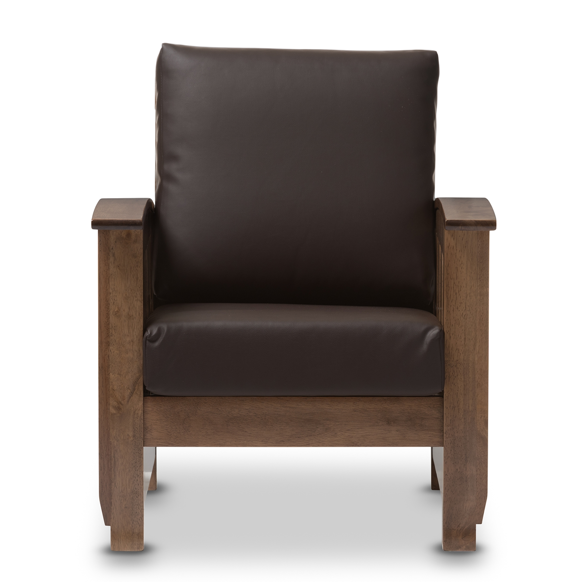 Bon Baxton Studio Charlotte Modern Classic Mission Style Walnut Brown Wood And  Dark Brown Faux Leather 1 Seater Lounge Chair