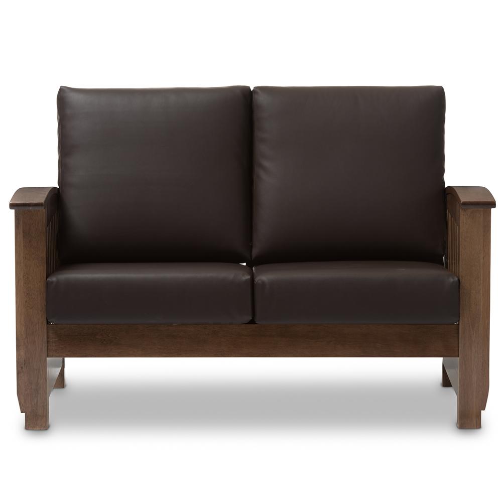 baxton studio charlotte modern classic mission style walnut brown