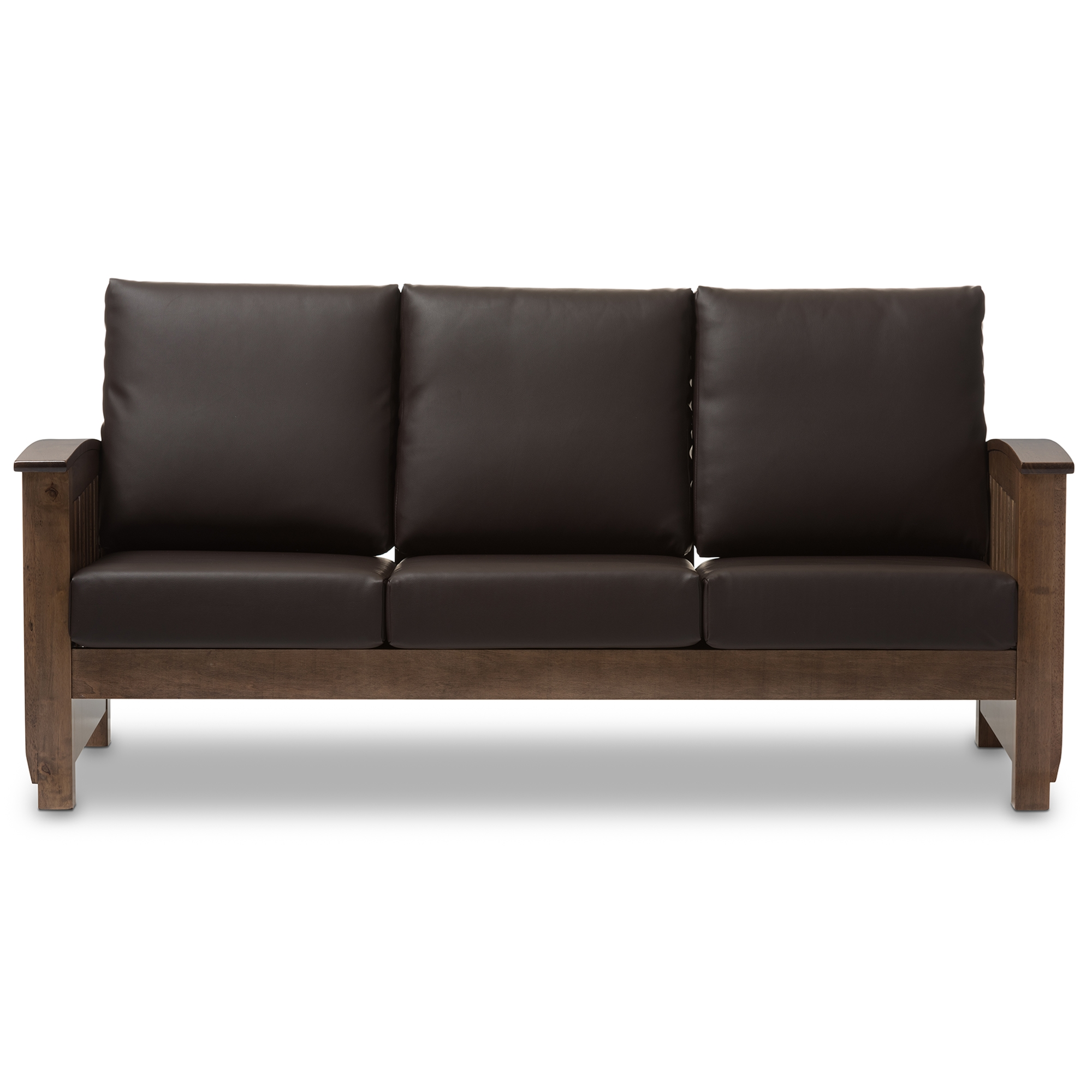 Baxton Studio Charlotte Modern Classic Mission Style Walnut Brown Wood And  Dark Brown Faux Leather 3 Seater Sofa