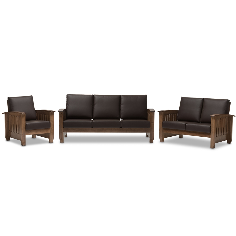 Baxton studio charlotte modern classic mission style for Living room 5 piece sets