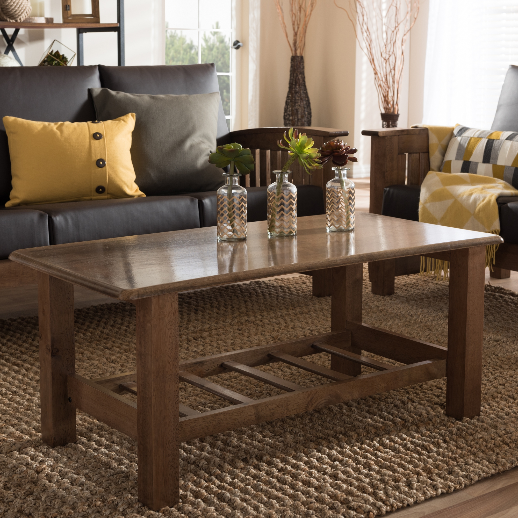 ... Baxton Studio Charlotte Modern Classic Mission Style Walnut Brown Wood  Coffee Table   BSOSW3513 Walnut