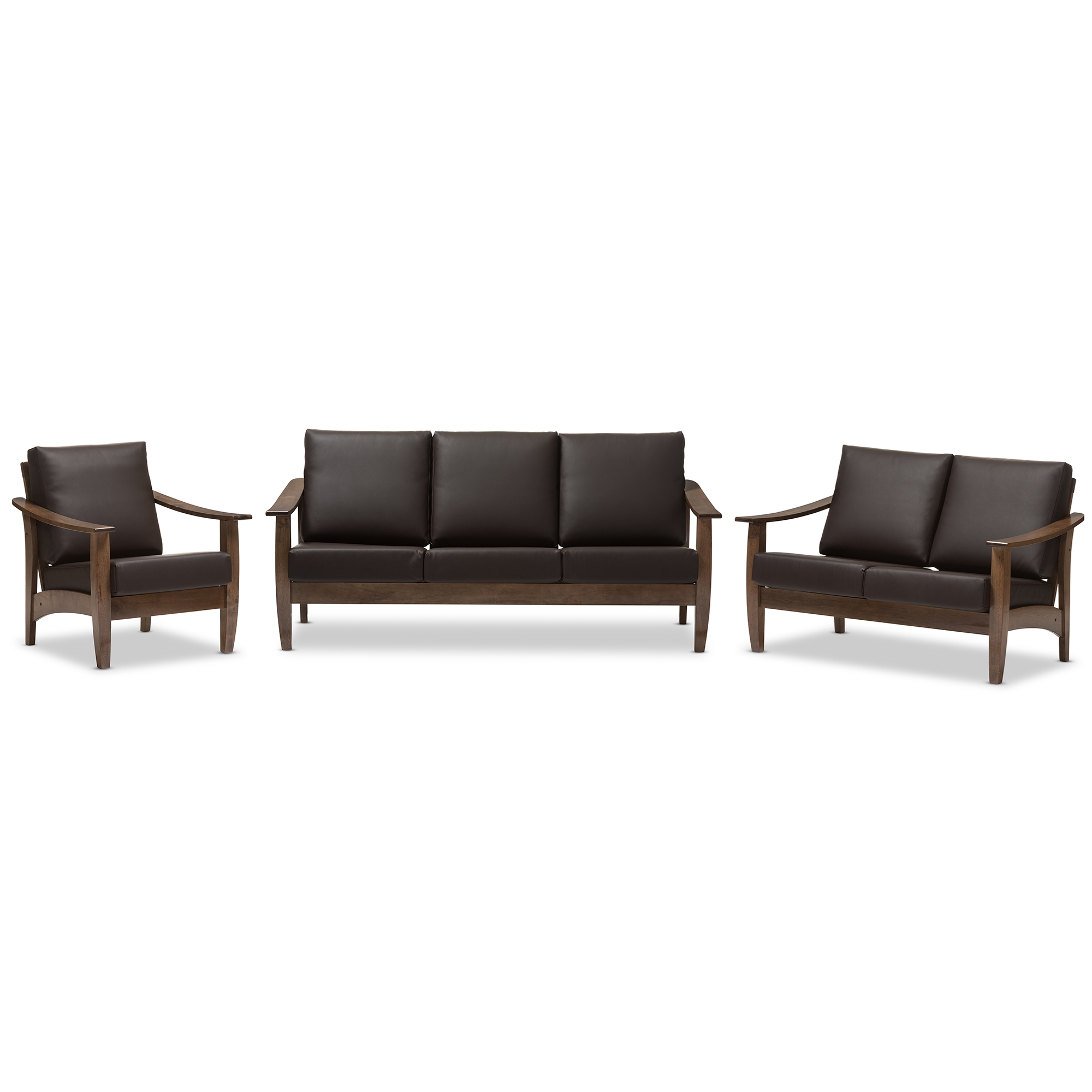 Baxton Studio Pierce Mid Century Modern Walnut Brown Wood And Dark Brown Faux  Leather Living Room 5 Piece Sofa And Occasional Table Set