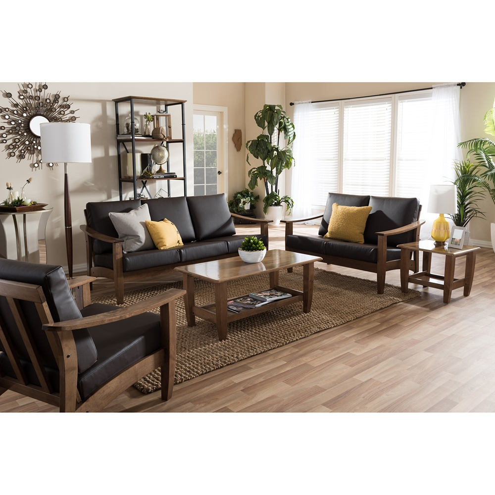 Baxton studio pierce mid century modern walnut brown wood Living room furniture sets studio