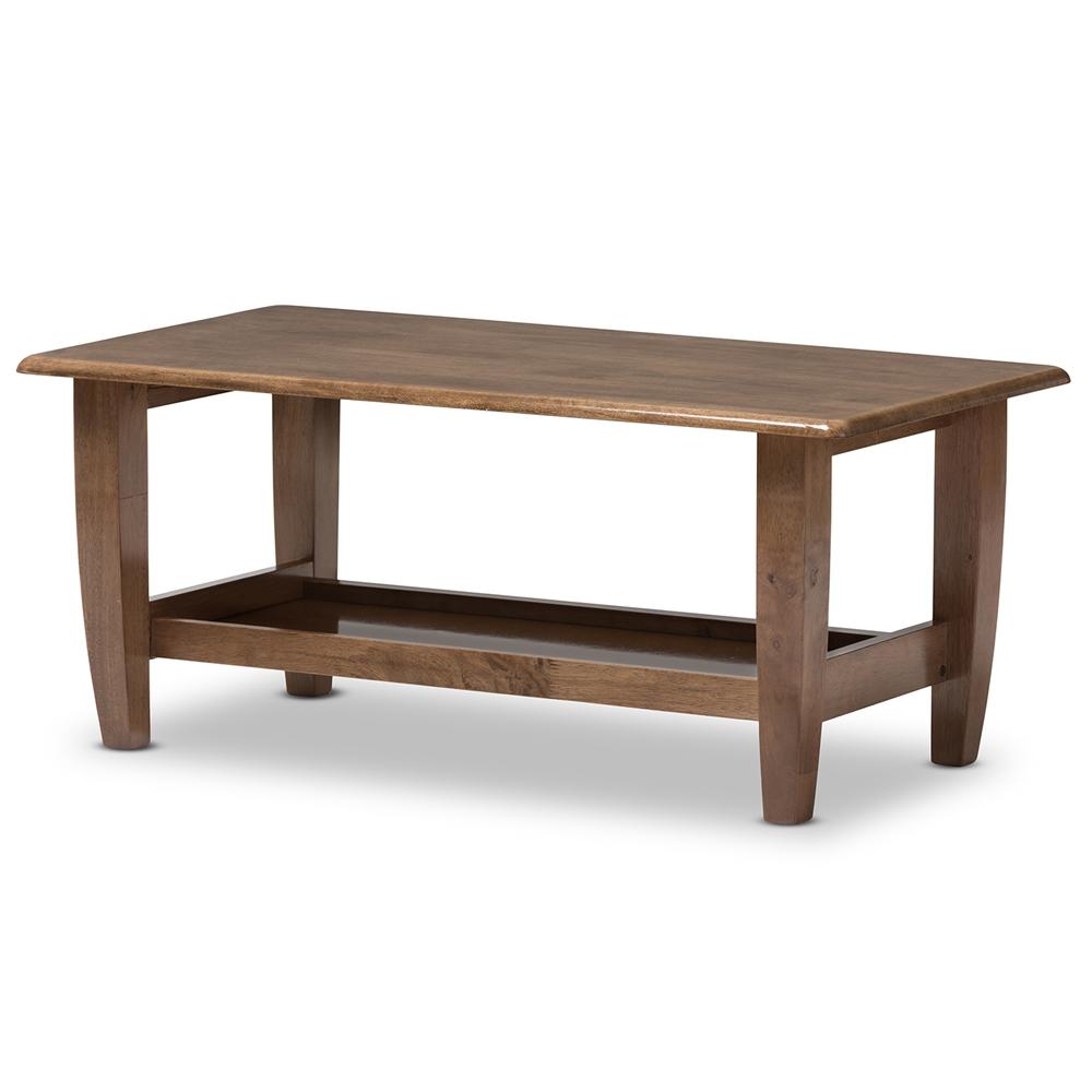 Baxton Studio Pierce Mid Century Modern Walnut Finished Brown Wood Coffee Table Bsosw3656
