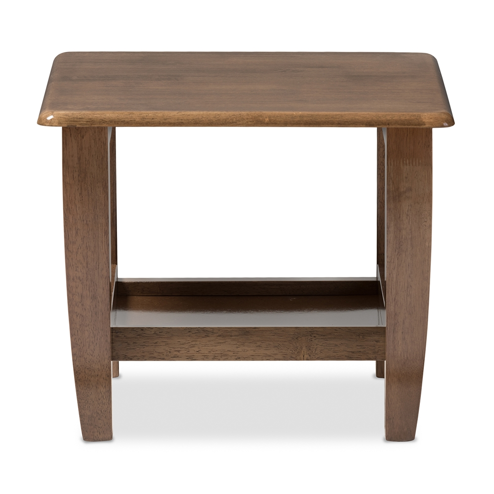 Baxton Studio Pierce Mid Century Modern Walnut Finished Brown Wood End Table