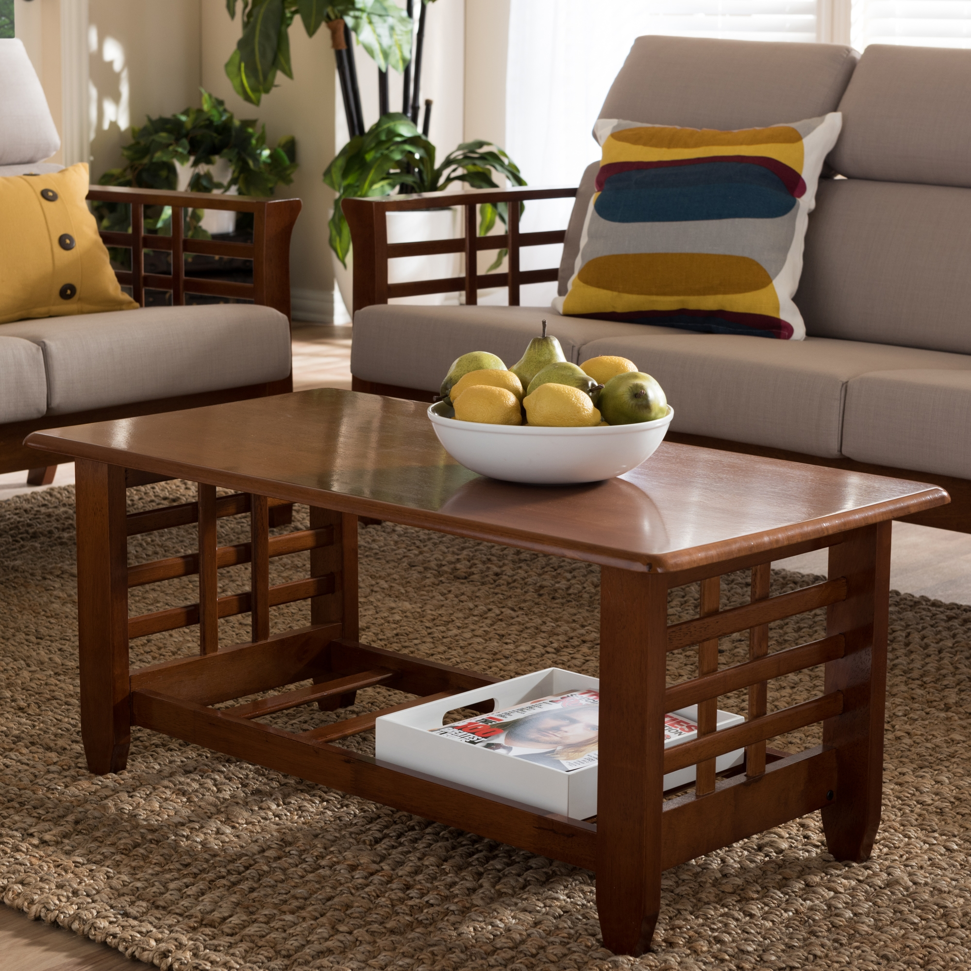 ... Baxton Studio Larissa Modern Classic Mission Style Cherry Finished  Brown Wood Living Room Occasional Coffee Table Part 51