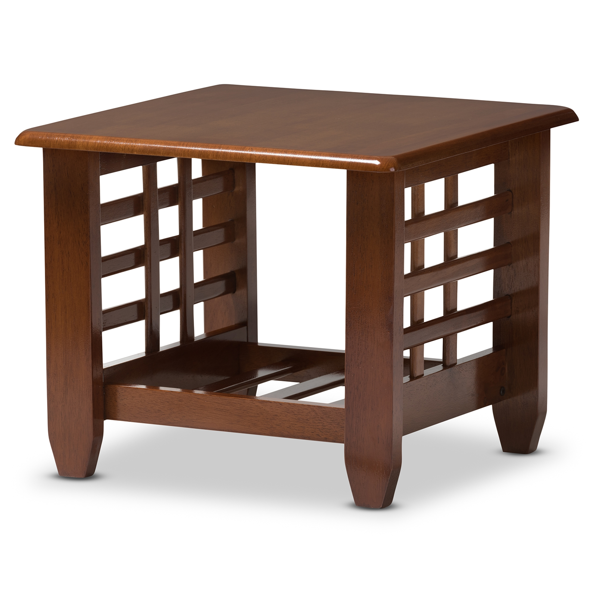 ... Baxton Studio Larissa Modern Classic Mission Style Cherry Finished  Brown Wood Living Room Occasional End Table ...