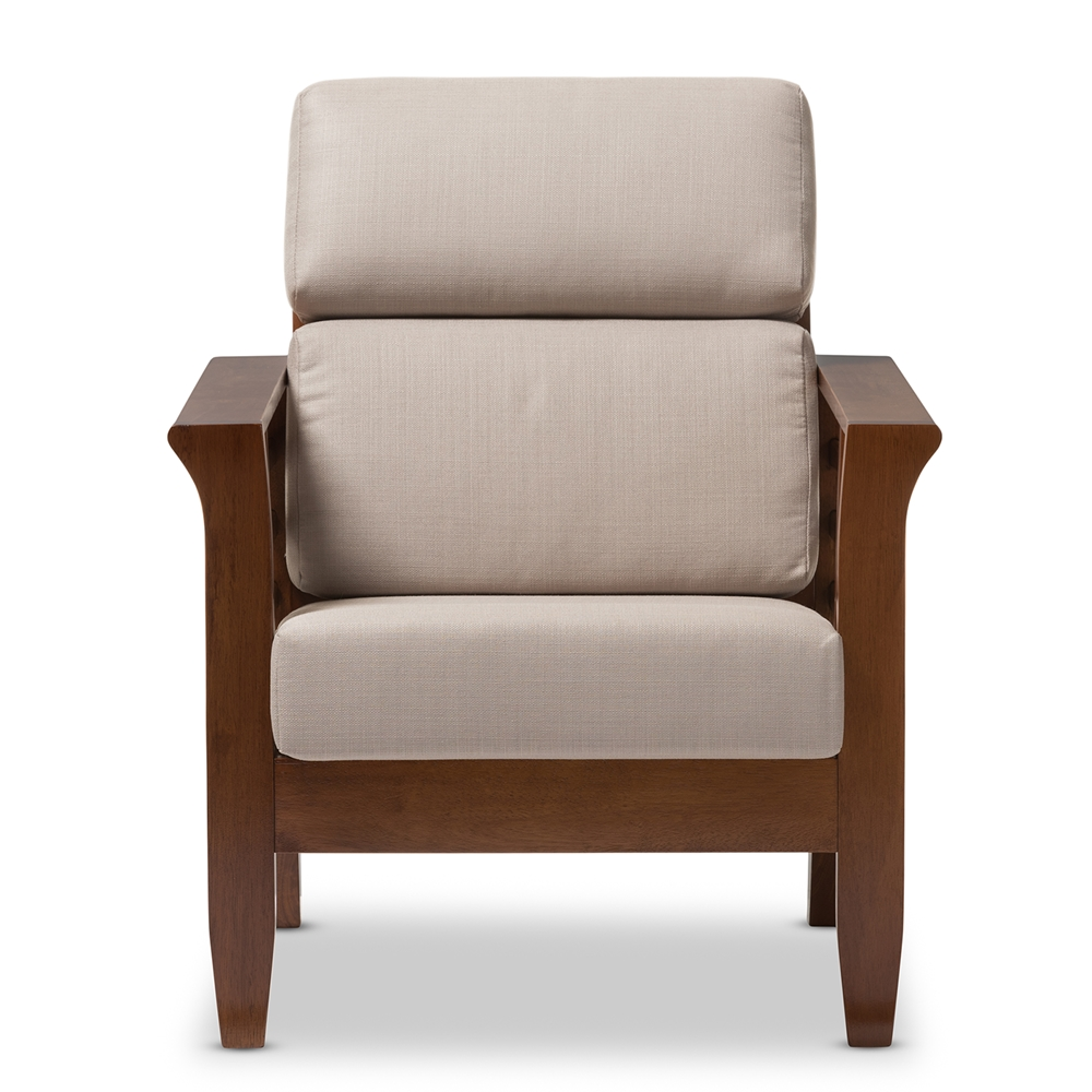Modern classic lounge chair - Baxton Studio Larissa Modern Classic Mission Style Cherry Finished Brown Wood And Beige Fabric High Back Cushioned Living Room 1 Seater Lounge Chair