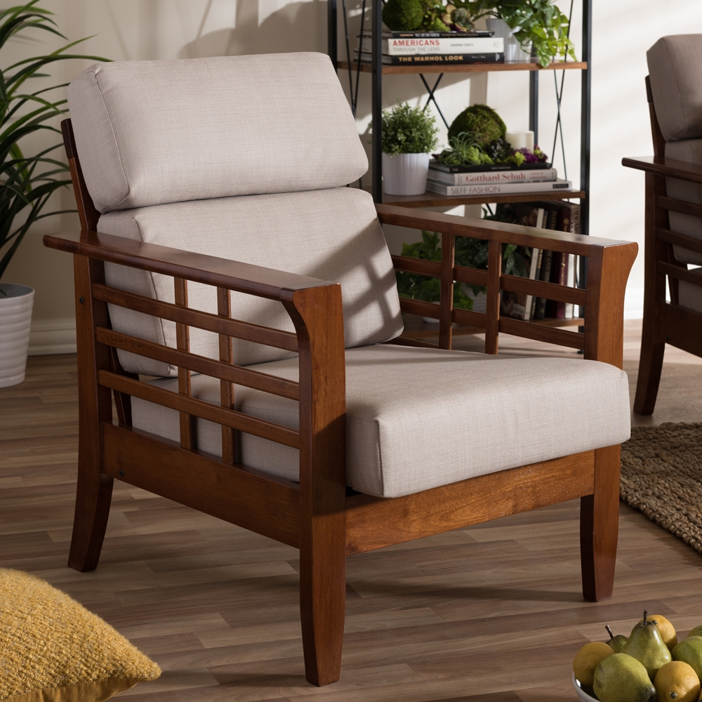 mission style living room chair.  Baxton Studio Larissa Modern Classic Mission Style Cherry Finished Brown Wood and Beige Fabric High Back