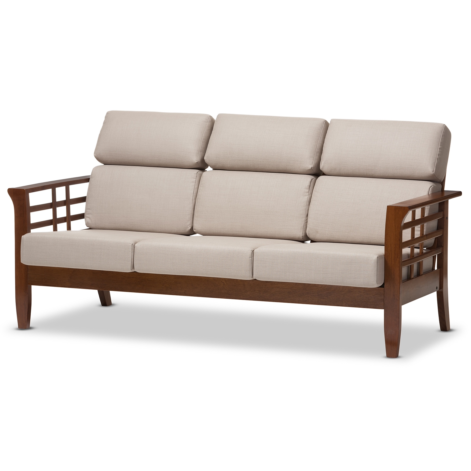 ... Baxton Studio Larissa Modern Classic Mission Style Cherry Finished  Brown Wood And Beige Fabric High Back ...