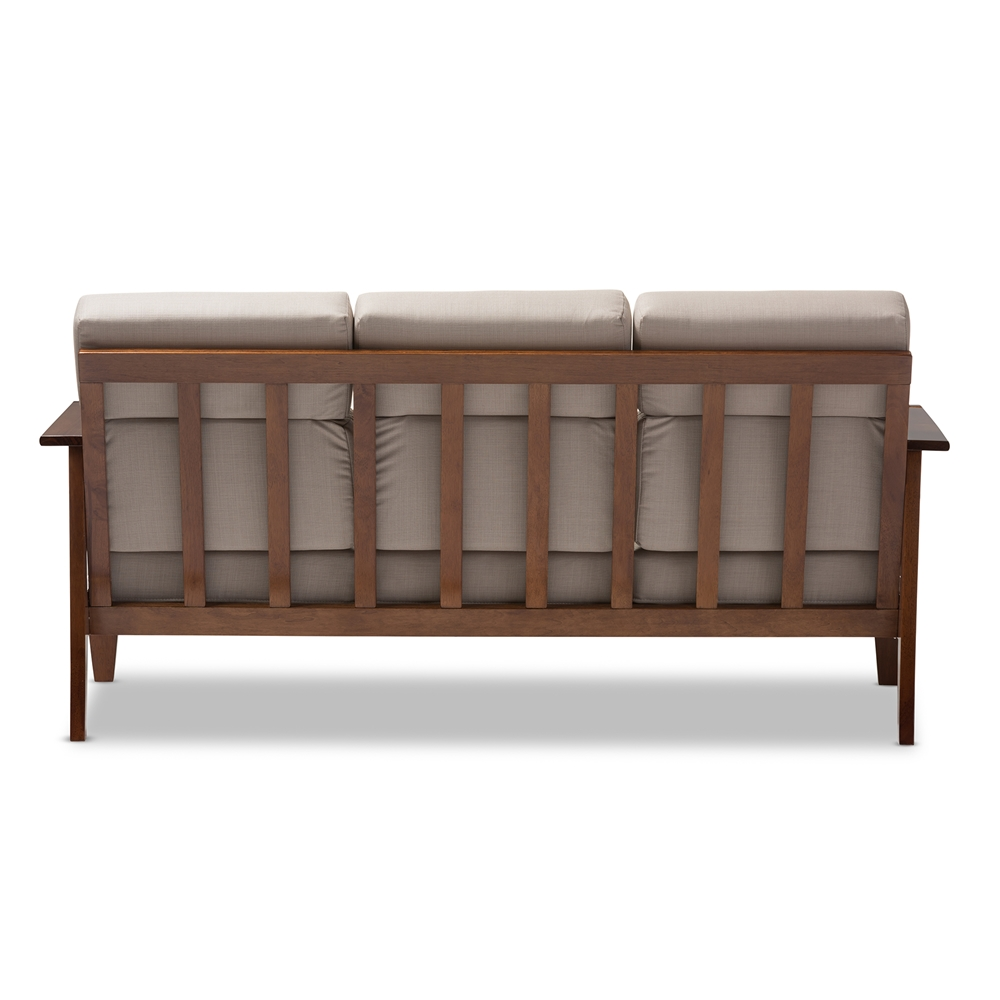 Mission style living room furniture -  Baxton Studio Larissa Modern Classic Mission Style Cherry Finished Brown Wood And Beige Fabric High Back