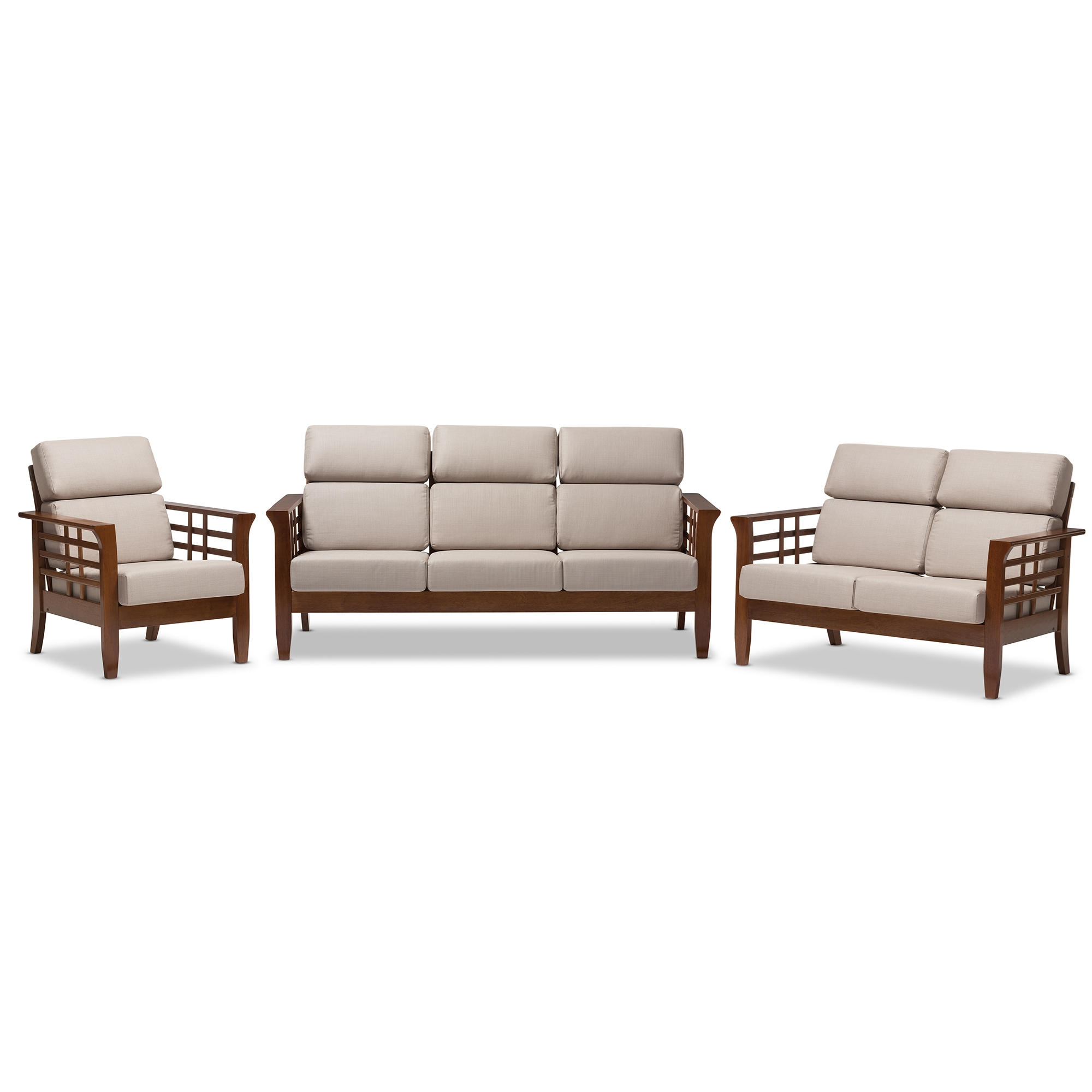 Baxton Studio Larissa Modern Classic Mission Style Cherry Finished Brown  Wood And Beige Fabric High Back Cushioned Living Room 5 Piece Set