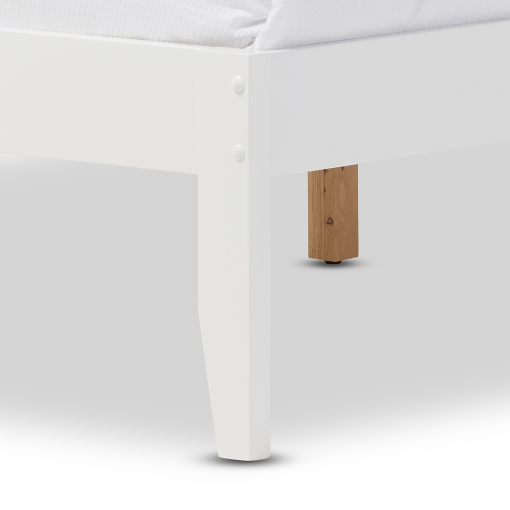 Baxton Studio Celine Modern And Contemporary Geometric Pattern White Solid  Wood Queen Size Platform Bed