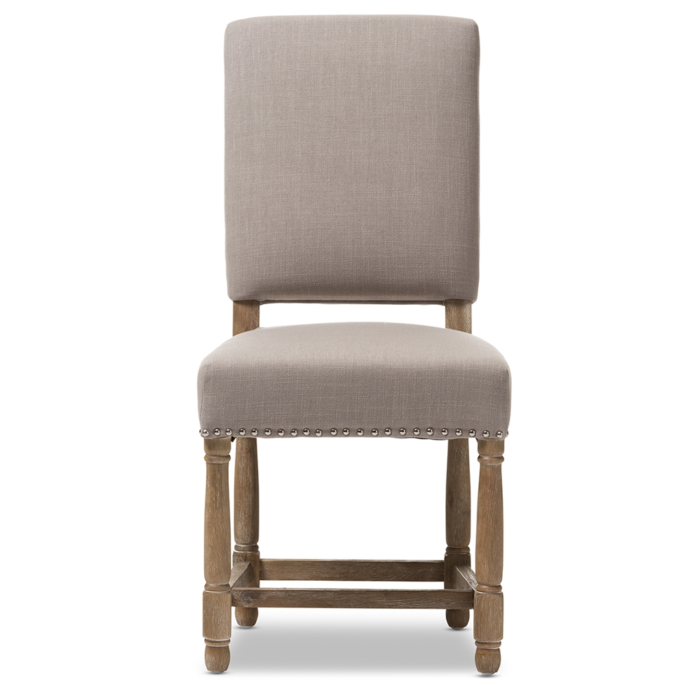 Modern french dining chair - Baxton Studio Deborah French Provincial Style Country Reclaimed Oak And Beige Linen Dining Chair