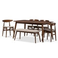 "Baxton Studio Flora Mid-Century Modern Light Grey Fabric and ""Oak"" Medium Brown Finishing Wood 6-Piece Dining Set Affordable modern furniture in Chicago, classic dining room furniture, modern 6-piece Sets, cheap 6-piece Sets"