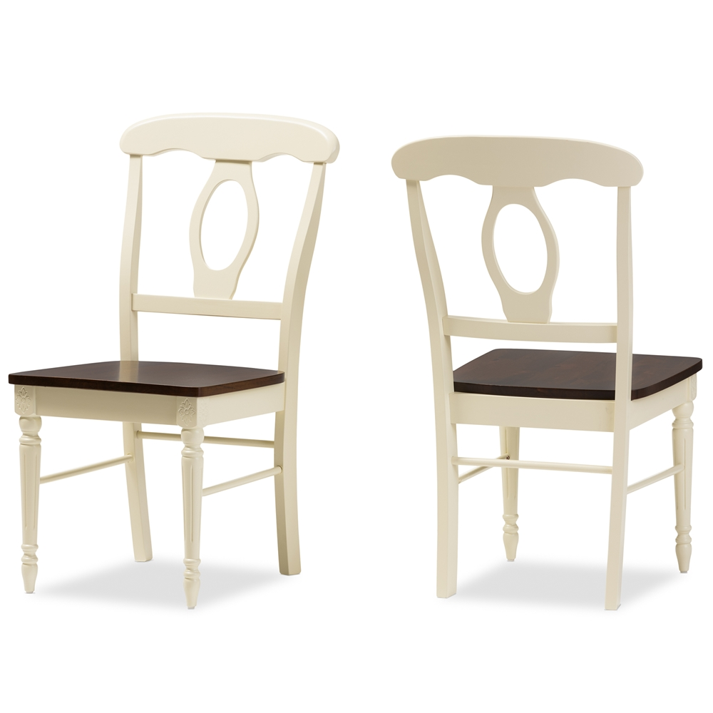Wooden dining room chairs - Baxton Studio Napoleon French Country Cottage Buttermilk And Cherry Brown Finishing Wood Dining Chair