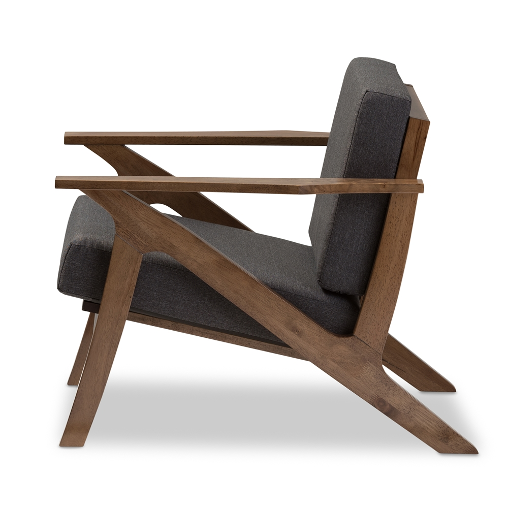 Modern lounge chairs for living room -  Baxton Studio Cayla Mid Century Modern Grey Fabric And Walnut Brown Wood Living