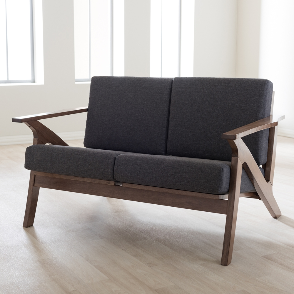 baxton studio cayla midcentury modern grey fabric and walnut  -  baxton studio cayla midcentury modern grey fabric and walnut brownwood living