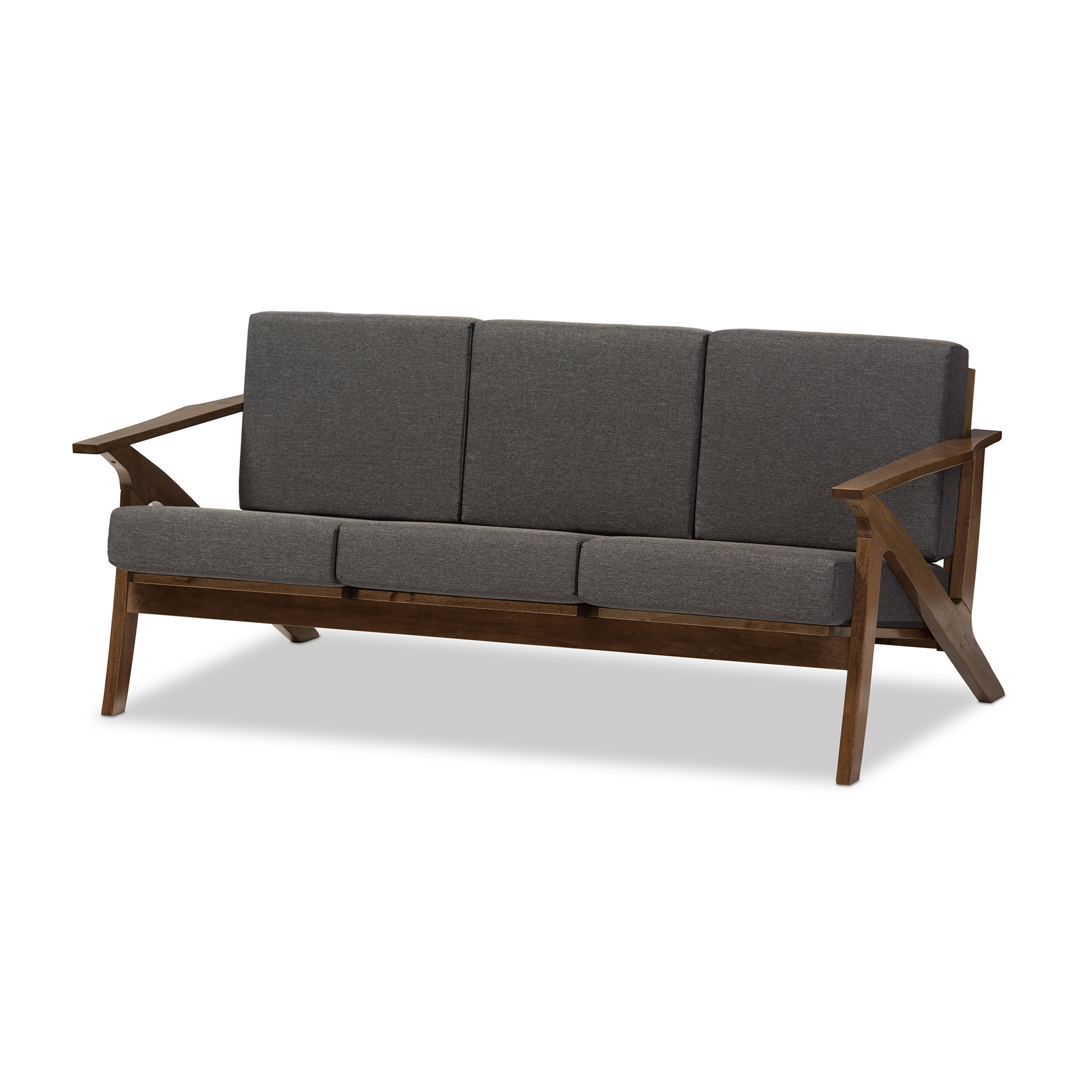 Baxton Studio Cayla Mid Century Modern Grey Fabric And Walnut
