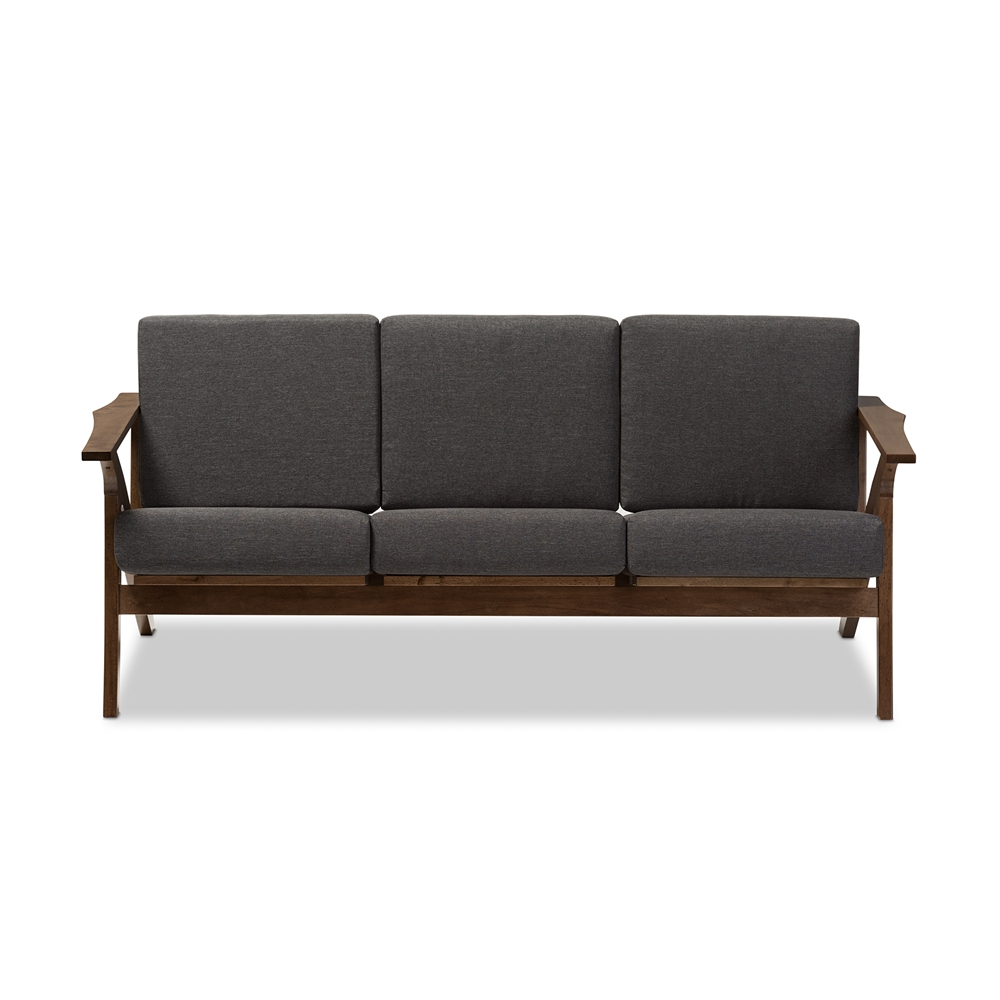 "Living Room Furniture Walnut Wood baxton studio cayla mid-century modern grey fabric and ""walnut"
