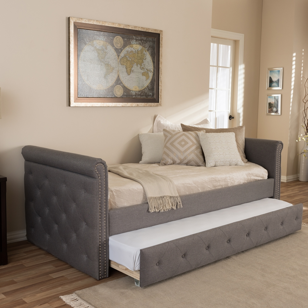 Swamson Fabric Tufted Twin Size Daybed With Roll Out Trundle