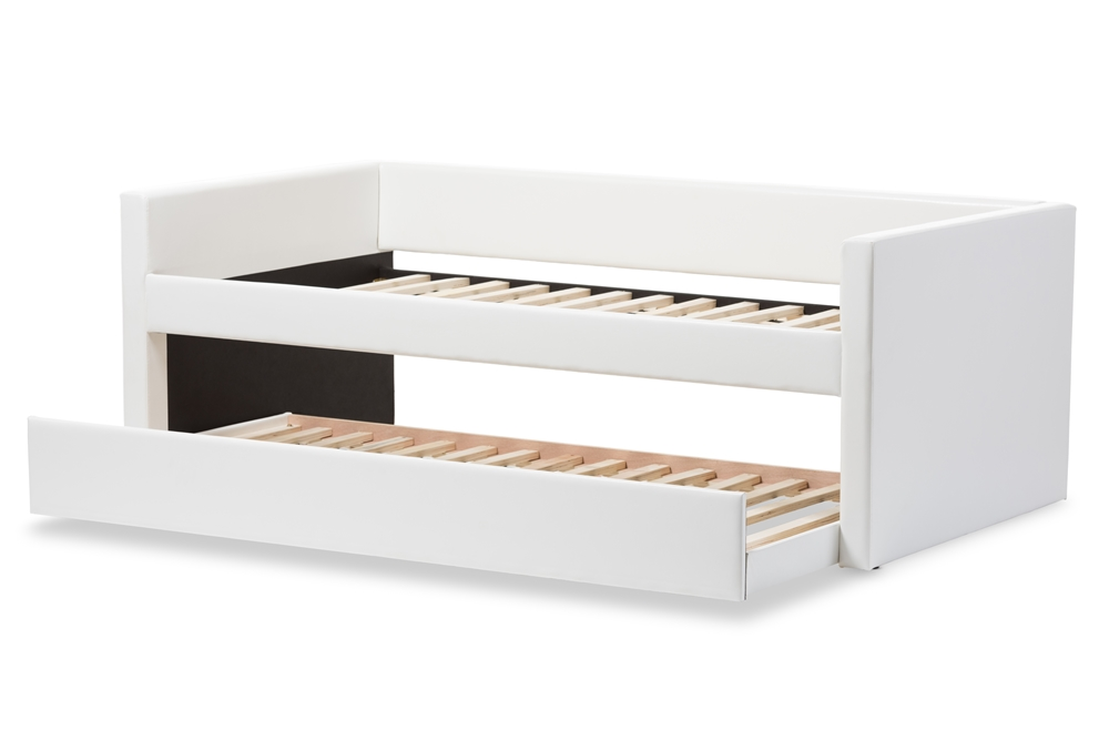baxton studio risom modern and contemporary white faux leather upholstered twin size daybed bed frame with - Bed Frame Twin Size