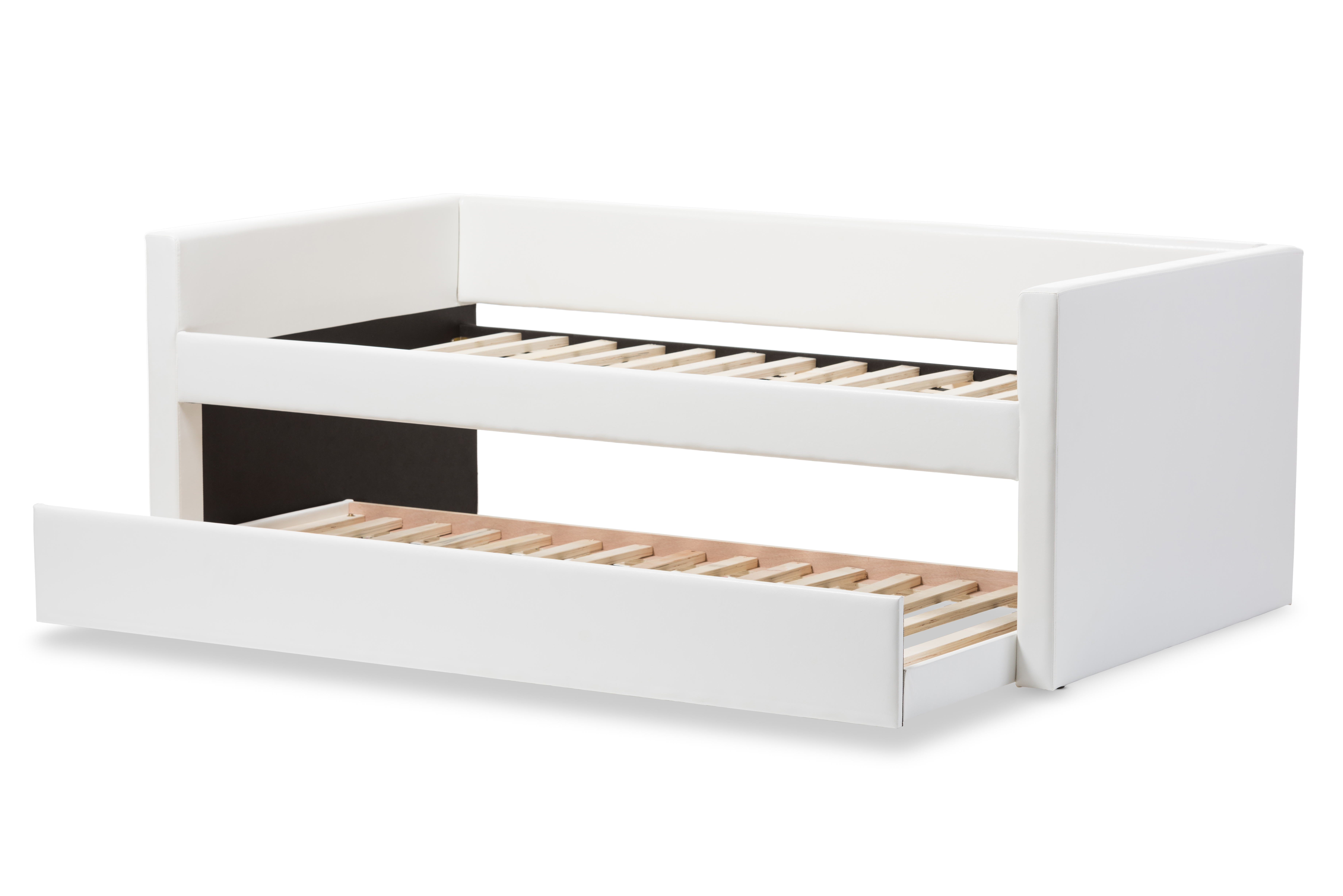 baxton studio risom modern and white faux leather upholstered twin size daybed bed frame with